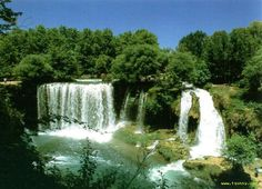 Duden Waterfalls, Turkey. The Waterfalls are a group of waterfalls on the Duden River in the province of Antalya, Turkey. The water of the Lower Duden waterfall falls gracefully into the Mediterranean sea after sliding across a rocky cliff. It is a famous tourist attraction at a small distance of 10 Km from the beaches in the South East of Antalya.