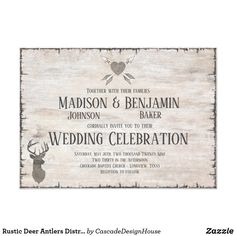 Shop Rustic Deer Antlers Distressed Wedding Invitations created by CascadeDesignHouse. Wedding Invitations Online, Country Wedding Invitations, Rustic Invitations, Bridal Shower Invitations, Wedding Templates, Wedding Invitation Templates, Bridal Shower Games, Bridal Showers, Cascade Design