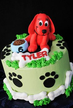 "Clifford birthday cake idea. We can help achieve this look at Dallas Foam with cake dummies, cupcake stands and cakeboards. Just use ""2015pinterest"" as the item code and receive 10% off your first order @ www.dallas-foam.com. Like us on Facebook for more discount offers!"