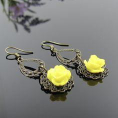 Rose earrings, nickel free, yellow rose earrings, antique bronze earrings, boho chic, dangle flower earrings, romantic earrings, handmade by AndesBeads on Etsy