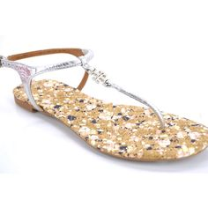 Pre-Owned  Tory Burch Marion Quilted Confetti Sandal Size 6 Thongs... ($182) ❤ liked on Polyvore featuring shoes, sandals, brown, ankle wrap sandals, silver ankle strap sandals, silver sandals, silver strappy sandals and ankle strap shoes