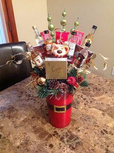 Mini liquor bottle and chocolate Christmas basket, white elephant gift! Christmas Baskets, Christmas Jars, Homemade Christmas Gifts, Xmas Gifts, Homemade Gifts, Christmas Crafts, Christmas Ideas, Diy Gifts, Christmas 2015