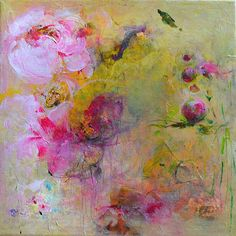 Breathtaking..PEONIES Original Abstract Painting on Stretched by Paulina722, $215.00