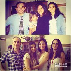 Janet(右二)貼出15年前(上圖)和接待家庭的合照,模樣幾乎沒變。(圖/取自Janet臉書)