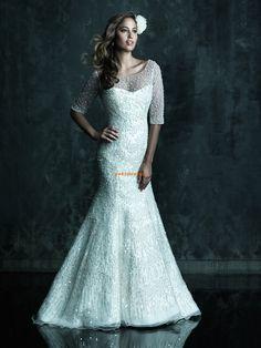Lodičkový výstřih Polodlouhé rukávy Empírové Svatební šaty 2013