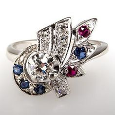 Retro Vintage Diamond Ruby & Sapphire Ring 14K White Gold 1940's
