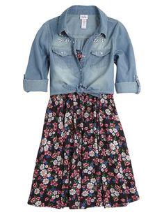 Floral Dress With Denim Shirt