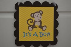 Monkey Theme Baby Shower Door Sign Blue by SweetEPaperBoutique