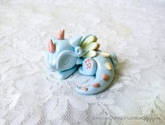 Baby Dragon Sculpture / Cute Polymer Clay by PlushlikeCreatures