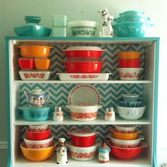 My happy hutch filled with my favorite pieces of Pyrex--Friendship!