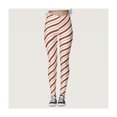 Candy Cane Striped Christmas Red and Green Leggings (€59) ❤ liked on Polyvore featuring pants, leggings, red striped pants, red striped leggings, striped trousers, red leggings and red pants