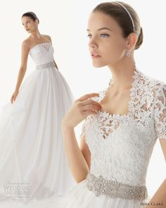 Rosa Clará 2013 Bridal Collection. Belleza guipure and silk organza gown , shown with short sleeve guipure jacket.