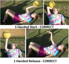 Fastpitch Softball Throwing Drill for all ages - Big Ball Throwing - 1 handed release correct