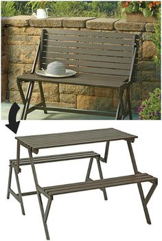 """Metal Convertible Picnic Table/Bench ($199.99). The heavy-duty steel construction and efficient design of the convertible picnic table/bench makes it an ideal piece to feature on your balcony or in a small space. It easily converts from a patio bench into a picnic table."""