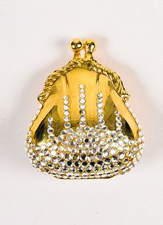 Judith Leiber Gold Toned Metal Silver Toned Rhinestone Tiny Pill Case Purse