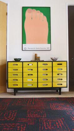 vintage yellow cabinet