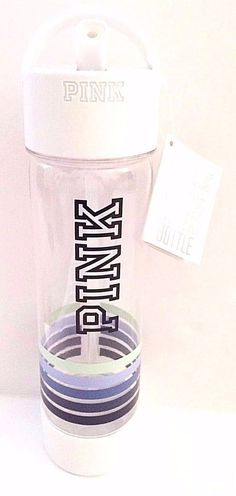 NEW! Victoria's Secret PINK Campus Water Bottle Blue Stripes NWT!!! | eBay