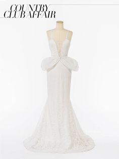 Vera Wang Vneck Chantilly lace mermaid dress with guipure lace accent and Chantilly lace peplum, price upon requestVera Wang, NYC, 212.628.3400