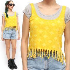 Nollie Fringe Tassel Boho Batik Yellow Boxy Summer Crop Top | eBay