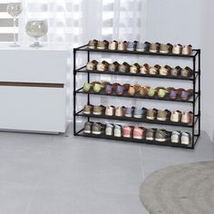 Rebrilliant Lynk® 36 Pair Overdoor Shoe Organizer | Wayfair Shoe Storage Cabinet, Bench With Shoe Storage, Storage Rack, Shoe Rack Steel, Shoe Rack Wayfair, Easy Bathroom Updates, Dorm Storage, Garage Storage, Stackable Shoe Rack