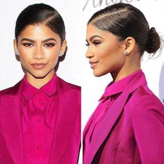 #Zendaya's bun is the perfect hairstyle for a summer bride! Not in the mood to fight your texture? Go for a dramatic diagonal part before slicking your strands into a super-tight low knot. Click the link in our bio for 12 other wedding-ready looks!  | : Getty by people