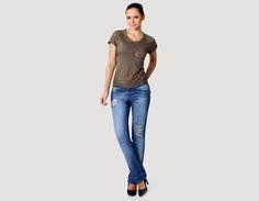 GUP'S :: LOOKBOOK T-shirt, Ref. B8618 Calça jeans com rasgos e correntes, Ref. 56497