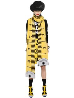 MOSCHINO - MEASURING TAPE WOOL & CASHMERE SCARF - LUISAVIAROMA - LUXURY SHOPPING WORLDWIDE SHIPPING - FLORENCE