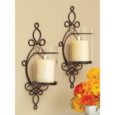 Better Homes and Gardens Ironwork Loop Wall Sconces, 2pk. Candle decorative wall sconces.