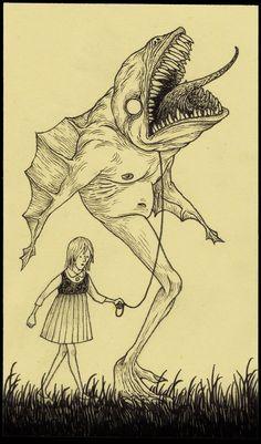 Scary Drawings, Indie Drawings, Dark Art Illustrations, Illustration Art Drawing, John Kenn, Art Is Dead, Tim Burton Art, Satanic Art, Arte Obscura