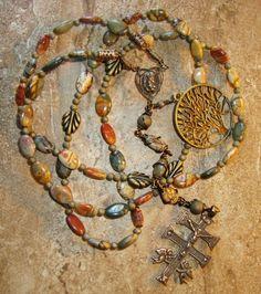 Catholic Rosary Beads   Jasper 5 Decade Catholic Rosary Beads with Solid Caravaca Crucifix ...