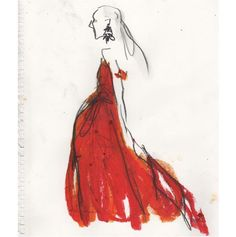 Lady in red. Resort illustration by Richard Haines.