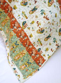 Baby Girl Quilt-Modern Organic Cotton Crib Bedding-Birch Fabrics-Fort Firefly-Woodland Animal Fairy Baby Blanket on Etsy, $170.52 CAD