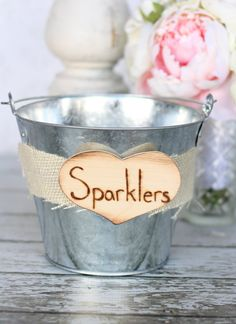 Rustic Burlap Wedding Decor Sparklers Basket Pail by braggingbags,