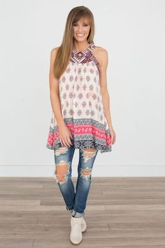 """Sleeveless mixed print tunic. Could also be worn as a dress. Polyester/Cotton. Hand wash. Measures 31"""""""" from shoulder to shortest hem. Fits true to size. Model is 5'6"""""""" and wearing a size small.S (2-"""
