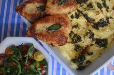 Chicken parm & creamy sage polenta from www. Creamy Polenta, Sage, Meat, Chicken, Blog, Salvia, Blogging, Cubs
