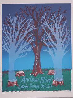 Super and supernatural hand silkscreen printed poster for Andrew Bird by Weather Maker Press. Love the transparent ghost tress and split fountain sky.