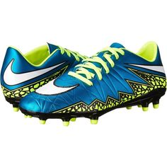 Nike Hypervenom Phelon 2 FG (Blue Lagoon/Volt/Black/White) Women's... (44 AUD) ❤ liked on Polyvore featuring shoes, athletic shoes, nike, soccer, blue, nike shoes, blue athletic shoes, ball shoes, football shoes and football boots