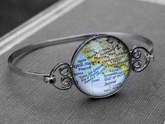 Amalfi Coast Map Bangle Bracelet by DaisyMaeDesignsShop on Etsy, $25.00
