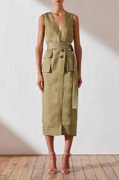 Ellington Wrap Midi Dress W Belt - Olive Linen Dresses, Casual Dresses, Style Personnel, Mode Simple, Summer Outfits, Summer Dresses, Mode Outfits, Ready To Wear, Street Style