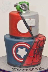 Marvel Superhero Cake with Hulk, Spider-man, Captain America, Thor, and Iron-man