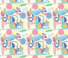 cubistcats fabric by birdsinpants on Spoonflower - custom fabric