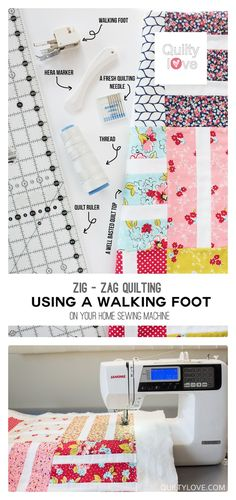 Quilty Love | How to quilt – Zig zag walking foot quilting on a home sewing machine | http://www.quiltylove.com. How to quilt using a walking foot. #quilting #freetutorial Free quilting tutorial.