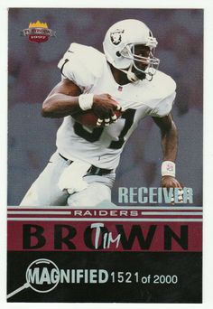 Tim Brown # WR 7 - 1997 Score Board Playbook By The Numbers Football - Magnified Silver