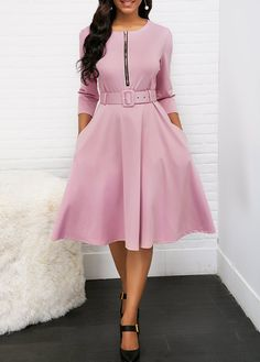 Choose Round Neck Zipper Front Belted Pleated Dress and discover our dress sale to find discount dresses that won't break the bank. Cheap Purple Dresses, Sexy Dresses, Dresses For Sale, Dresses Online, Casual Dresses, Dresses With Sleeves, Party Dress Sale, Club Party Dresses, Black High Low Dress