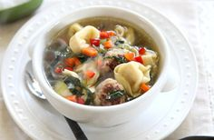 Garlic Meatball Tortellini Soup