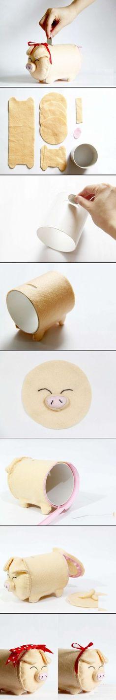 Artesanato Decor e Culinária: Como fazer um cofrinho em formato de porquinho