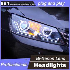 537.80$  Buy here - http://aif5c.worlditems.win/all/product.php?id=32639737244 - car styling For VW Passat headlights U angel eyes DRL 2011-2015 For VW Passat LED light bar DRL Q5 bi xenon lens h7 xenon