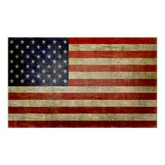 #Weathered, #distressed #AmericanFlag Print