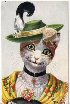 Arthur Thiele Cat in Green Hat with Feather