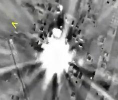 Rußland bombadiert IS Stellungen in Syrien: Bombenexplosion in Syrien (Foto der russischen Armee): Der Einsatz in dem...